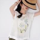 【慢。生活】刺繡印花亮絲拼接上衣 818-18  FREE 白色