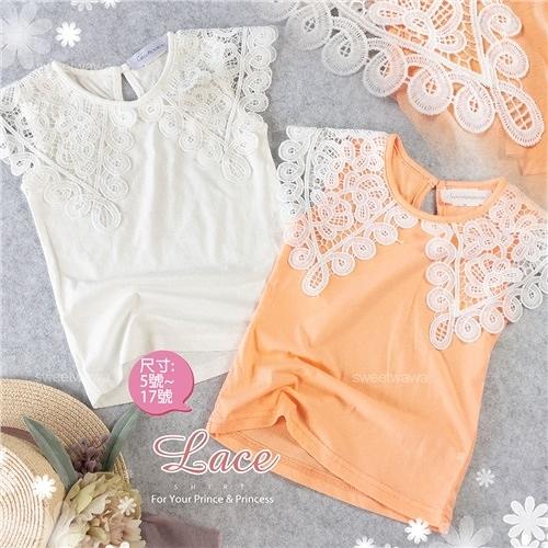 韓風小女孩 織花造型圍領短袖上衣-2色(310218)【水娃娃時尚童裝】
