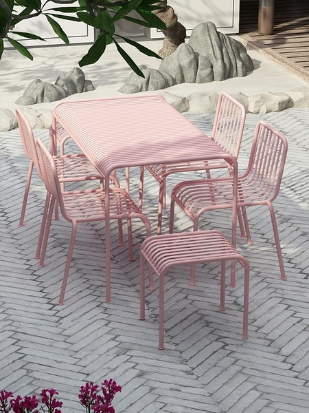 戶外桌椅 庭院桌椅休閒桌椅組合室外粉色鐵藝桌椅簡約露天休閒戶外桌椅【快速出貨】