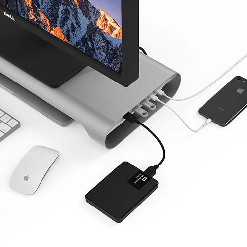 MonitorMate ProBASE HD 鋁製 USB Type-C 多功能螢幕架 (支援 4K HDMI 輸出) 北歐銀