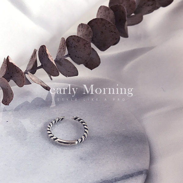 early Morning - 925純銀  粗麻花 開口戒指 極簡韓版 仿舊 中性【SFC041】