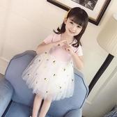 女童短袖連身裙2019夏裝新款洋氣寶寶拼接網紗裙兒童菠蘿公主裙