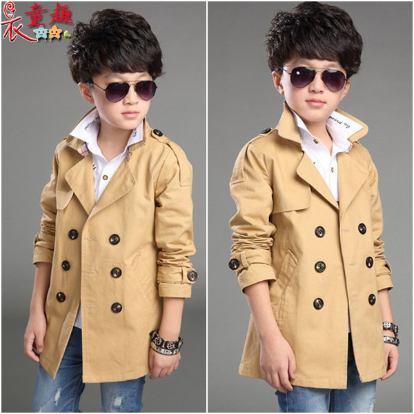 衣童趣♥韓版中大男童百搭帥氣風衣 長版雙排扣立領外套 時尚潮流有型韓版外套