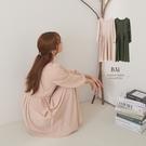 雙側綁帶壓摺方領長洋裝-BAi白媽媽【310846】