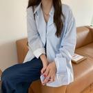 豎條紋襯衫女春秋復古港風長袖上衣秋季韓版寬鬆慵懶藍色襯衣外套 安雅家居館