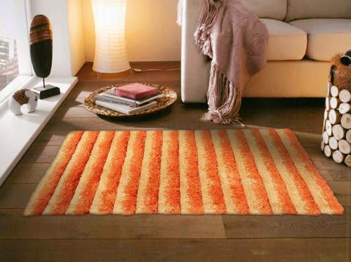范登伯格 彩之舞 漸層條紋厚蓬地毯-橘30-60x90cm