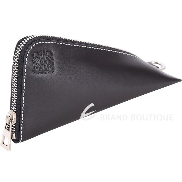LOEWE Oversized Z型滑面小牛皮零錢包(黑色) 1810442-01