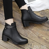 中跟冬季加絨保暖棉鞋中老年媽媽鞋短靴中年女鞋皮鞋防滑粗跟冬鞋 夏季新品
