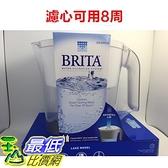 [現貨] Brita Lake (最高容量4L) 2.4L 新型白色 10杯 濾水壺 (含1支8周圓形濾芯) 3500CC 可過濾151公升