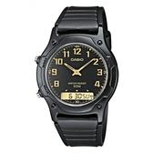 【CASIO】經典雙顯錶-黑X金(AW-49H-1B)