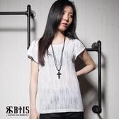 【BTIS】燒花透膚條紋 短袖上衣 / 米白色