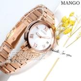 (活動價) MANGO 原廠公司貨 羅馬時刻 珍珠螺貝面盤 不鏽鋼女錶 防水手錶 日期視窗 玫瑰金 MA6736L-81R