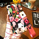 iPhone手機殼 可掛繩 名媛花朵法鬥狗狗 花卉手繩 矽膠軟殼 蘋果iPhone7/iPhone6 手機殼