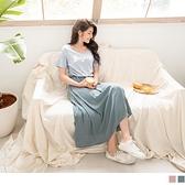 《DA6510-》竹節棉腰鬆緊英文燙印短袖長洋裝 OB嚴選