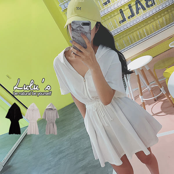 LULUS-限量/Y半開拉鍊縮腰連帽洋裝-3色  【02190003】