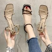 高跟鞋 夏季新款綁帶一字扣仙女風粗跟涼鞋女韓版時尚百搭高跟涼鞋女「艾瑞斯居家生活」