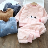兒童睡衣法蘭絨寶寶家居服加絨保暖套裝【聚可愛】