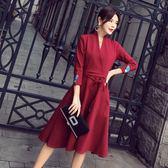 長袖洋裝秋季不規則大擺裙連身裙9832GD3F-326-B依佳衣