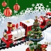 電動仿真復古軌道音樂火車模型兒童益智玩具男孩元旦新年禮物3歲