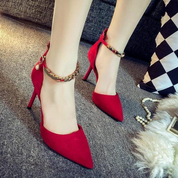 淺口紅色尖頭高跟鞋細跟性感單鞋一字扣綁帶單鞋女婚鞋潮 k-shoes