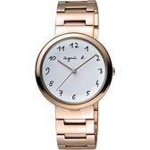 agnes b. 自由的主題時尚腕錶-白x玫塊金/36mm VJ21-KJ50K(BH8028X1)