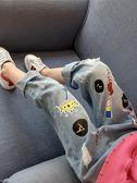 女童牛仔褲春秋2018新款中大童正韓寬鬆童裝兒童春裝破洞褲子潮禮物限時八九折