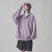 2020秋季女薄款韓版寬鬆ins潮學生拉鏈純色bf風連帽加絨衛衣開衫 寶貝計劃