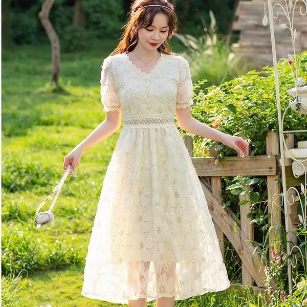 華麗網紗鑲亮片花朵宴會洋裝短袖小禮服[88006-QF]小三衣藏