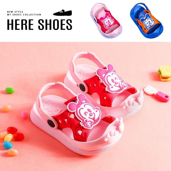 [Here Shoes](童鞋14-19)2cm涼鞋 PU防水防雨 可愛卡通狗狗 平底圓頭兩穿涼拖鞋-ABBD008