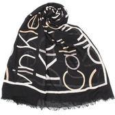 CalvinKlein CK LOGO字母絲質寬版披肩圍巾(黑色)103257