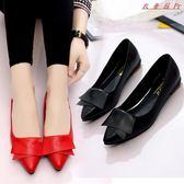 平底淺口小皮鞋女尖頭單鞋粗跟女鞋