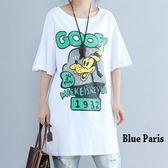 藍色巴黎 ★ 圓領字母可愛狗五分袖棉質寬鬆長版上衣 / 洋裝  【28383】