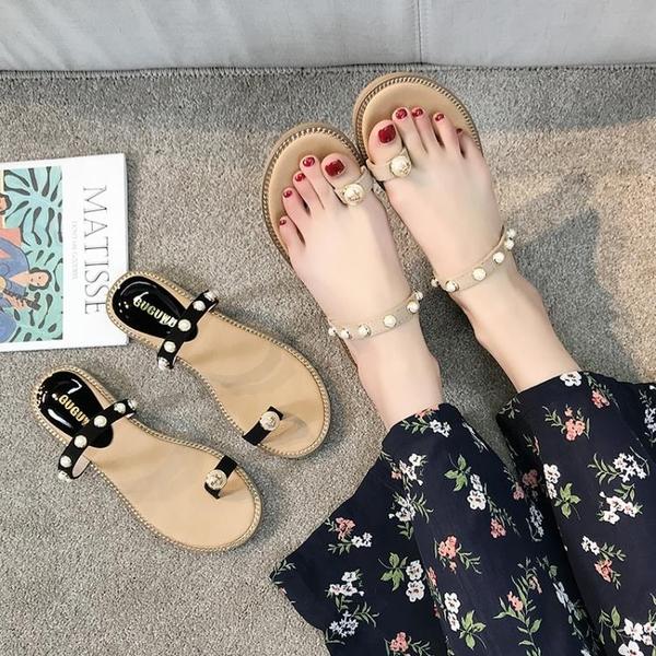 2019涼拖鞋女夏時尚外穿拖鞋新款旅游百搭平底沙灘涼鞋拖鞋222-1