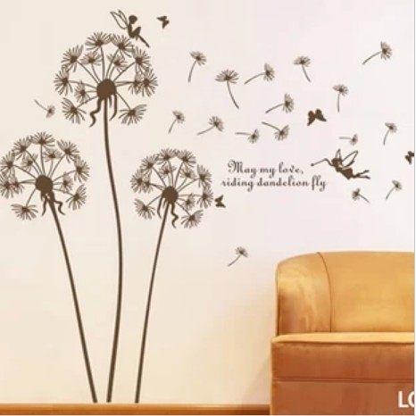 ►蒲公英牆貼浪漫電視沙發背景牆可移除牆貼壁貼紙【A3013】