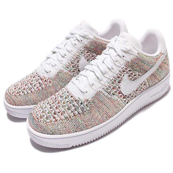Nike 休閒鞋 AF1 Ultra Flyknit Low 彩色 白 Air Force 1 男鞋 運動鞋 飛線編織【PUMP306】 817419-701