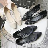 夏款透氣網布女鞋大碼職業鞋歐美風平跟平底尖頭鞋蕾絲女涼鞋 潔思米