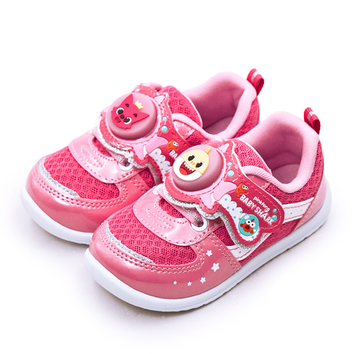 LIKA夢 Pinkfong 碰碰狐 15cm-19cm BABY SHARK 兒童電燈運動鞋 台灣製造 粉紅桃 96633 中童