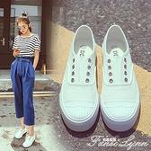 韓版帆布鞋女秋季百搭厚底增高一腳蹬懶人鞋學生平底休閒小白鞋女 范思蓮恩