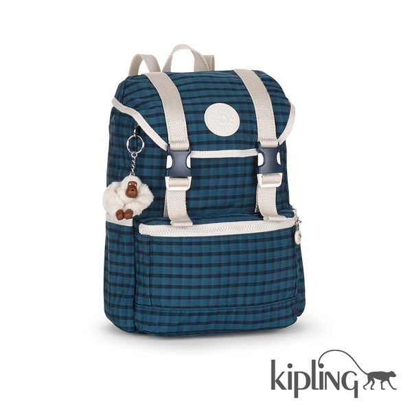 Kipling 深藍格紋後背包-中