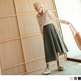 高含棉純色後鬆緊不規則傘擺長裙 OrangeBear《CA2080》