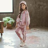 女童運動套裝秋裝新款韓版潮衣中大童秋款兒童裝開衫兩件套 zm8603『男人範』