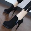 裸靴 黑色高跟鞋女2020新款秋季歐美圓頭防水臺及裸靴百搭細跟拉鏈短靴 降價兩天