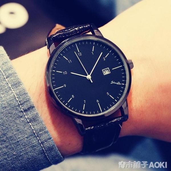 手錶女學生韓版時尚潮流簡約 大錶盤日歷男錶皮帶女錶 雙12購物節