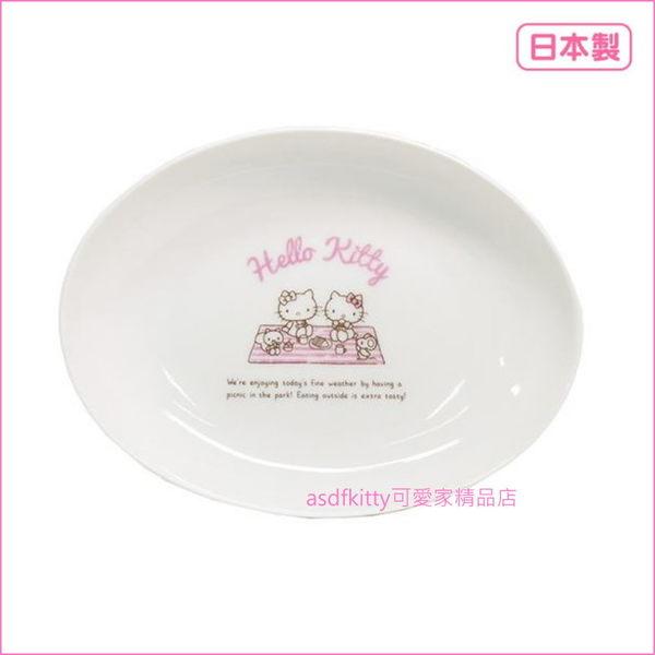 asdfkitty可愛家☆日本金正陶器 KITTY野餐-長橢圓陶瓷盤/咖哩盤-30906-可微波-日本製