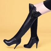 真皮過膝靴-精緻奢華水鑽裝飾高跟女長靴73iv6[時尚巴黎]