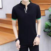 2018新款個性V領男士短袖t恤青年有帶領polo衫 LQ2450『小美日記』