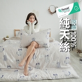 #TCL24#奧地利100%TENCEL涼感40支純天絲5尺雙人床包被套四件組(含枕套)