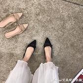 法式2021年春夏尖頭復古網紗波點蝴蝶結低跟單鞋女平底后空涼鞋 快速出貨