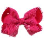 Cutie Bella 手工雙層蕾絲蝴蝶結髮夾 羅紋蕾絲緞帶 全包布 單個 Lace Bow-Fuchsia