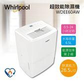 【拆封福利品+贈吸塵器】Whirlpool 惠而浦 26.5公升 高效能除濕機 WDEE60AW 公司貨